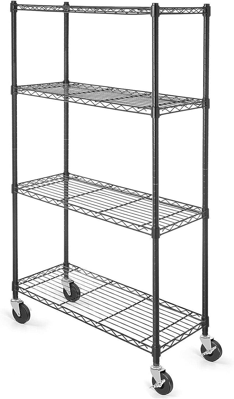 WDT Cheap mail order shopping Nashville-Davidson Mall 4-Shelf Shelving Storage Unit 3'' Wheel Metal Rack on