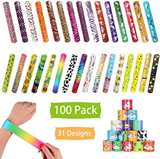 100 Pcs Slap Bracelets Party Favors, Colorful Hearts Emoji Animal Unicorn Print Design Retro Slap Bands for Kids Adults, Goody Bag Pinata Filler Carnival Prizes Treasure Chest Toys