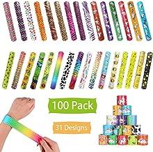 100 Pcs Slap Bracelets Party Favors, Colorful Hearts Emoji Animal Unicorn Print Design Retro Slap Bands for Kids Adults, Goody Bag Pinata Filler Carnival Prizes Treasure Chest Toys