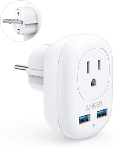 popular Anker European Travel Adapter, PowerExtend USB Plug International Power Adapter with 2 USB high quality and 1 Outlet, discount US to Most of Europe EU Spain Iceland Italy France Germany sale