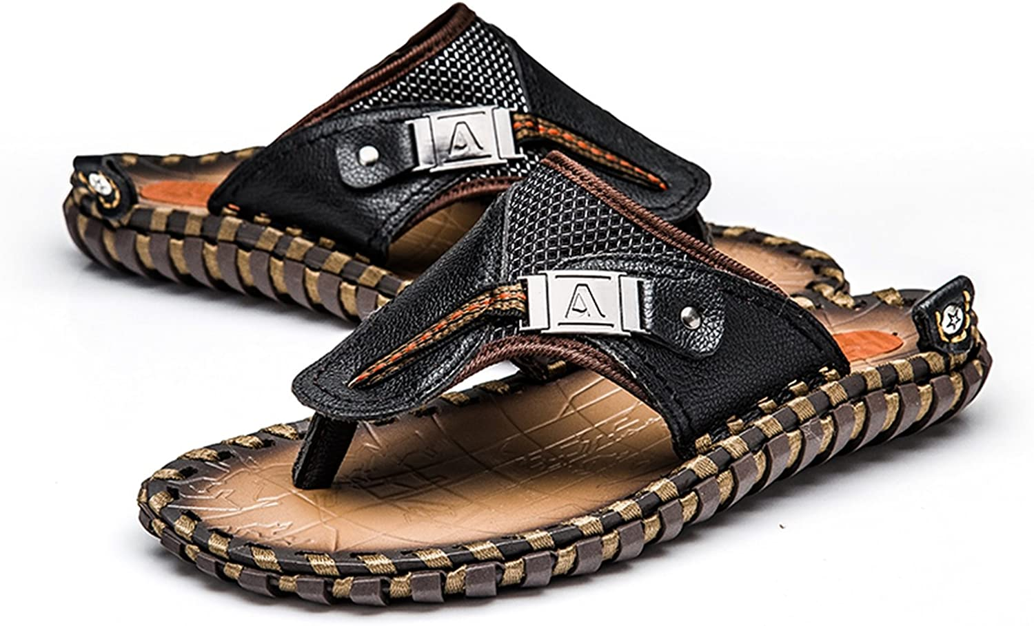 Mens Casual Shoes Genuine Leather Sandals Men Flip Flops Breather Slippers Plus Size