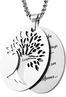 Two Piece Serenity Prayer Stainless Steel Pendant Necklace with Tree of Life Cut Out