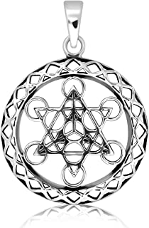 WithLoveSilver Sterling Silver Metatron's Cube Sacred Geometry Talisman Pendant