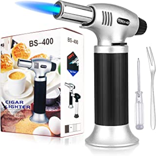 Culinary Torch, Sondiko Kitchen Blow Torch Refillable Butane Torch with Adjustable Flame and Safety Lock for Creme Brulee, Desserts, Cooking BBQ, Crafts(Butane Gas Not Included)