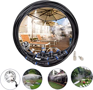 Misting Cooling System,50ft(15M) Misting Line 10 Stainless Steel Mist Nozzles 10 Connector Outdoor Cool Mister for Patio Garden Umbrellas Greenhouse Fan Trampoline Waterpark