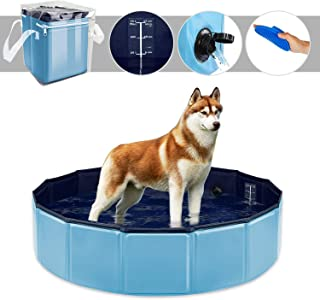 YAOBLUESEA Piscina para Perros- 80x20CM Piscina para Perros Piscina Plegable para Mascotas - Pequeno-Azul