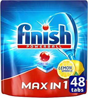 Finish Powerball Max in One Dishwasher Tablets, Lemon Sparkle, 48 Tablets