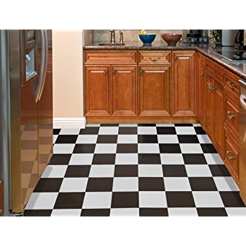 12x12 Inches Vinyl Floor Tiles Black And White Stick Checkered Flooring 20 Pack