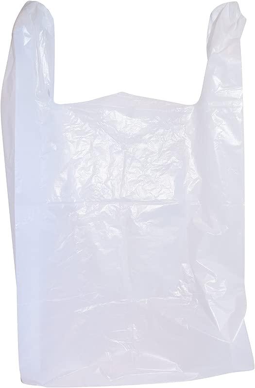 200 Large Plastic Grocery T Shirt Bags Plain White 12 X 6 X 21 By JA Kitchens