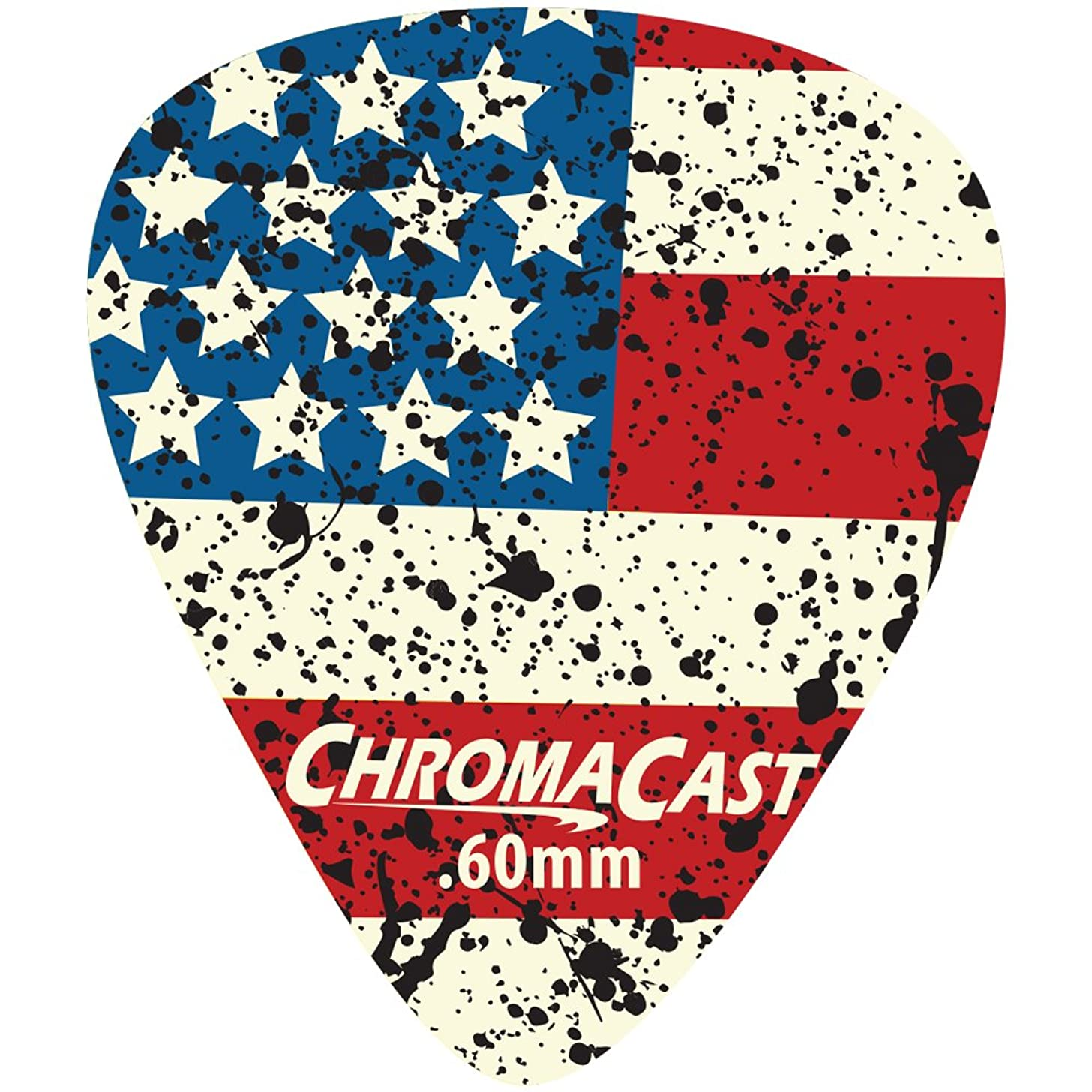 ChromaCast CC-DP-USA-60-10PK USA Flag Delrin Guitar Picks .60mm, Light Dura, 10 Pack