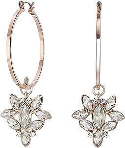 Hoop Earrings with Stone Cluster Drop