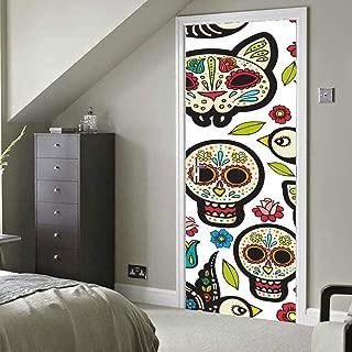 México Abatract Diseño elegante Vinilo autoadhesivo Etiqueta de la puerta extraíble Tatuajes de puerta para el hogar 30x79 pulgadas (77x200cm) 2 piezas