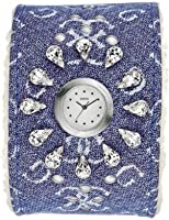 ساعة انالوج كاجوال جلد طبيعي للنساء من جس - I11050L4، كحلى فضى