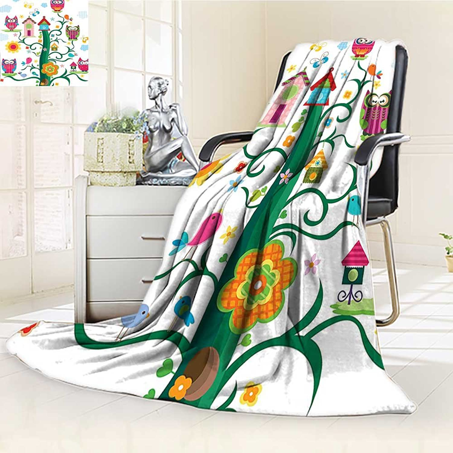 AmaPark Digital Printing Blanket in The Tree with Crazy Eyes Dots in The Air Nocturnal Wise Mascot Summer Quilt Comforter