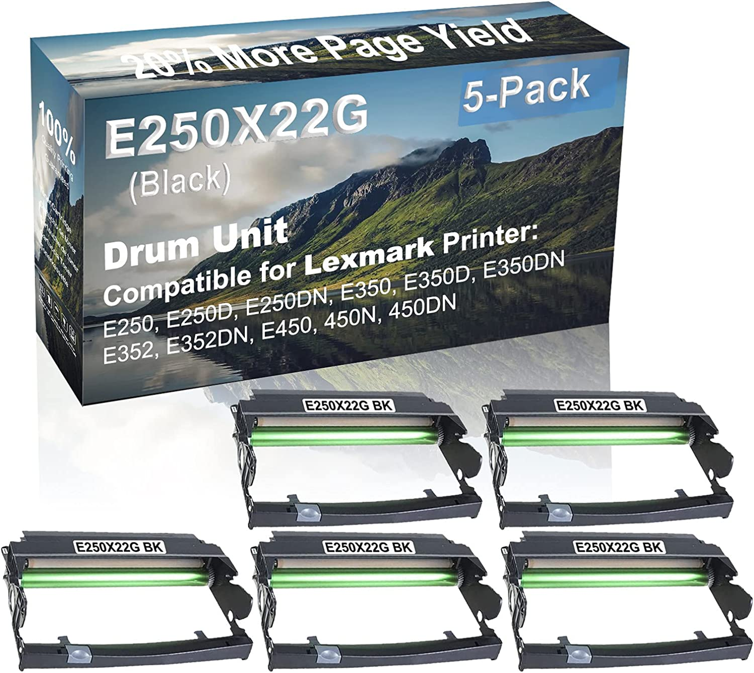 5-Pack Compatible Drum Unit (Black) Replacement for Lexmark E250X22G Drum Kit use for Lexmark E352DN, E450, 450N, 450DN Printer