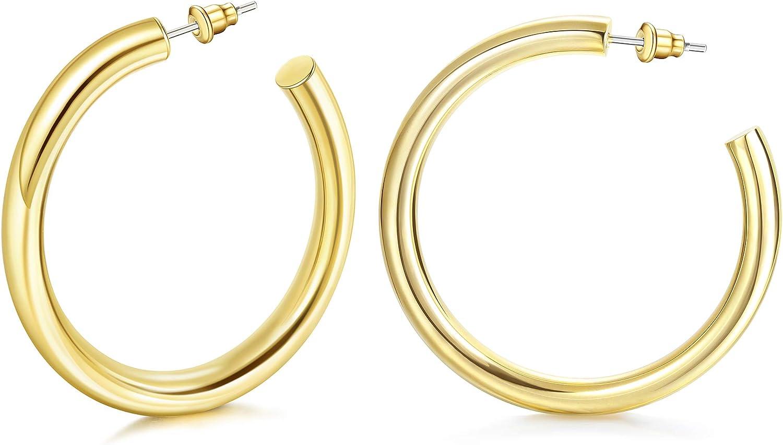 HAIAISO Chunky Open Max 48% Tulsa Mall OFF Hoop Earrings 14K Set Gold Plated -