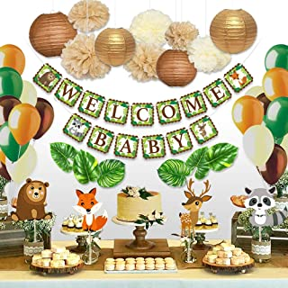 Sweet Baby Co. Woodland Baby Shower Decorations Animals Theme Neutral Party Supplies for Boy or Girl With Welcome Banner, Forest Fox Animal Creatures, Greenery for Garland, Lanterns, Pom Pom, Balloons