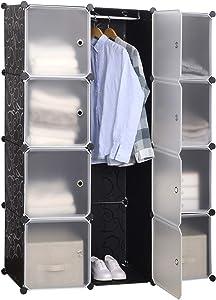 WOLTU SR0103stp DIY Armoire Plastique Chambre Faite de modules avec Porte pour Le Stockage de vêtements, Accessoires, Jouets, Livres,Chaussures,8 Cubes Noir