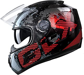 GLX Unisex-Adult GX15 Lightweight Full Face Motorcycle Street Bike Helmet with Internal Sun Visor DOT Approved (Metal, Large)