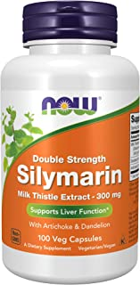 NOW Supplements, Silymarin Milk Thistle Extract 300 mg with Artichoke and Dandelion, Double Strength, Supports Liver Funct...