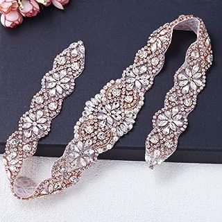 Rhinestone Applique for Dresses, FANGZHIDI Bling Rose Gold for DIY on Wedding Belt Sash, Bridal Veil,Wedding Cake Decoration