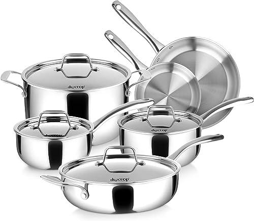 lowest Duxtop Whole-Clad Tri-Ply Stainless Steel Induction Cookware Set, 10PC online sale Kitchen Pots and Pans sale Set sale