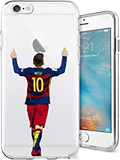 ETERINS Cases Ultra Slim [Crystal Clear] [Hardwood Series] Soft Transparent TPU Case Cover - Leo Messi for iPhone 6 6s
