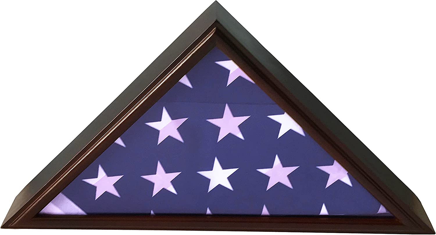 DECOMIL - 5x9 Burial Funeral Veteran Flag Elegant Display Case, Solid Wood, Cherry Finish, Flat Base