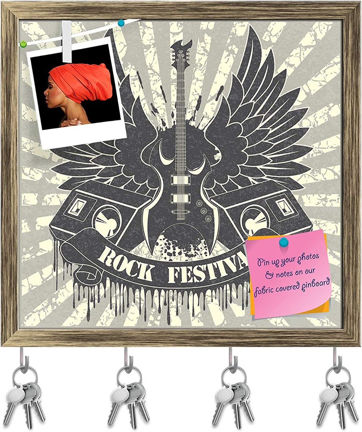 Artzfolio Music Guitar of Wings & Tapes Key Holder Hooks   Notice Pin Board   Antique golden Frame 16.7 X 16Inch