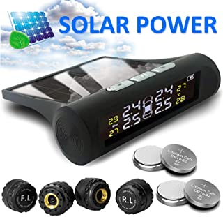 Randcocnept TPMS Tire Pressure Monitoring System with Antislip pad | Solar Power | Universal Wireless Pressure Gauge 4 External Sensors | Real-time Display 4 Tires' Pressure & Temperature | 22-72 PSI