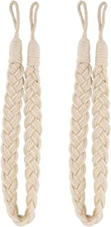 Lewondr Curtain Rope Buckle, 2 Pieces Cotton Knitted Knot Braided Window Curtain Tiebacks Decorative Drapes Holdback for Living Room, Bedroom, Cafe - Beige