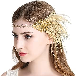 Sparkling Flapper Headband 1920s Art Deco Gatsby Feather Headpiece for Women