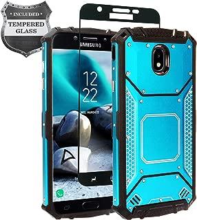 Z-GEN - Galaxy J7 2018, J7 Refine, J7 Star, J7 Crown, J7 Aura, J7 Top, J7 V J7V 2nd Gen J737 - Aluminum Metal Hybrid Phone Case for Samsung + Tempered Glass Screen Protector - ZY1 Blue