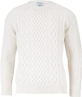 Paul James - Anderson - Mens Aran Merino Wool Sweater, Made in Great Britain