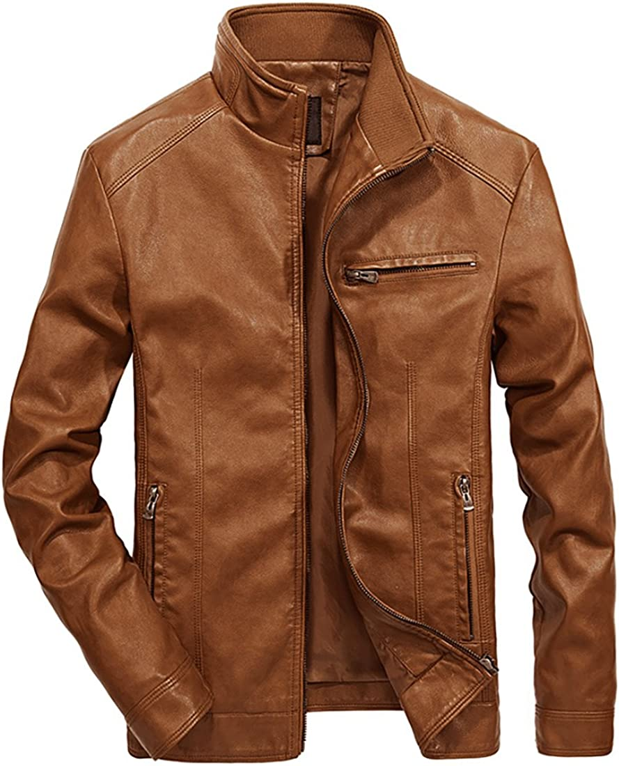 5 popular Nantersan Men's Leather Jacket Bombing free shipping Stand Collar PU Mens Faux Coa Fur