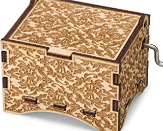 TheLaser'sEdge, You are My Sunshine, Personalizable Music Box, Laser Engraved Birch Wood (Damask Personalized)