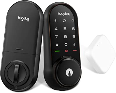 Hugolog Smart Lock,Touchscreen Deadbolt Remote Wireless Control & Bluetooth Keyless Door Entry Easy Installation and Program High Security Material for Metal Includes Gateway