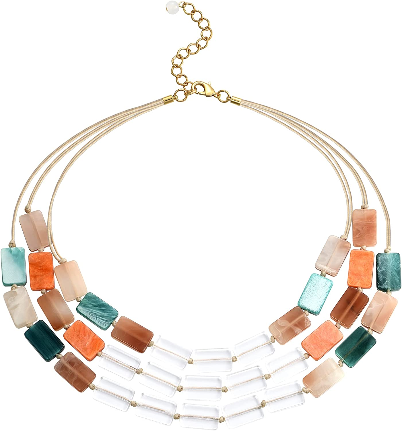 WOWORAMA Statement Necklaces for Women Colorful Multi-layer Chunky Bib Necklace Acrylic Collar Necklace
