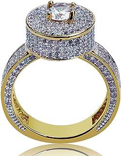 Anello Moda Hip Hop Personalizzato con Diamanti Moca, Anello in Oro 18 Carati con Diamante Simulato Bling CZ, per Donna