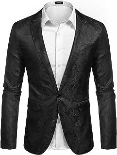 JINIDU Men's Paisley Dress Suit Lightweight Stylish Slim Fit Jacket Blazer for Wedding Prom Dinner Party