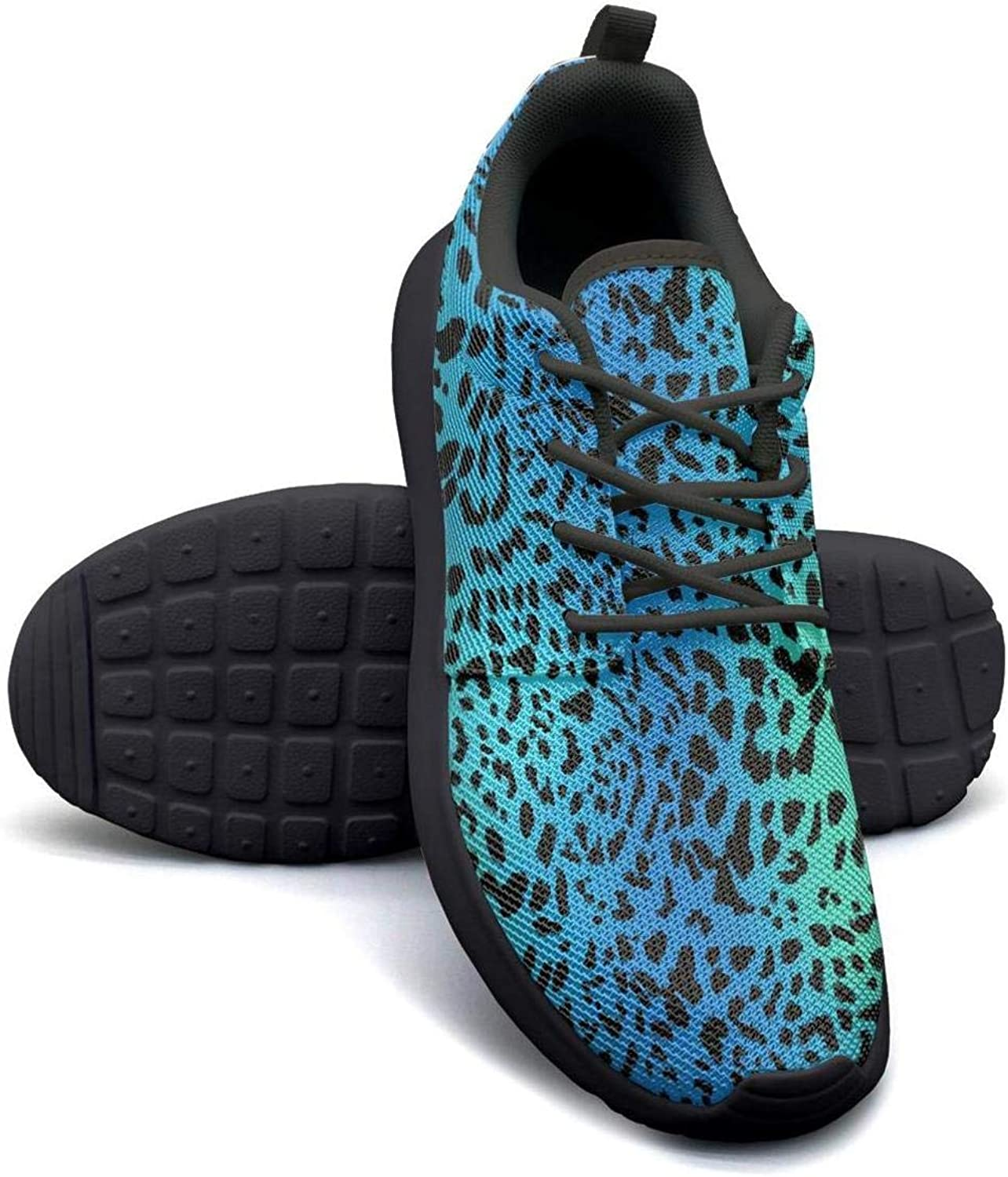 YSLC Leopard Cheetah Print Black Cream color Lightweight Running shoes for Women Sneaker Travel Soft Sole shoes