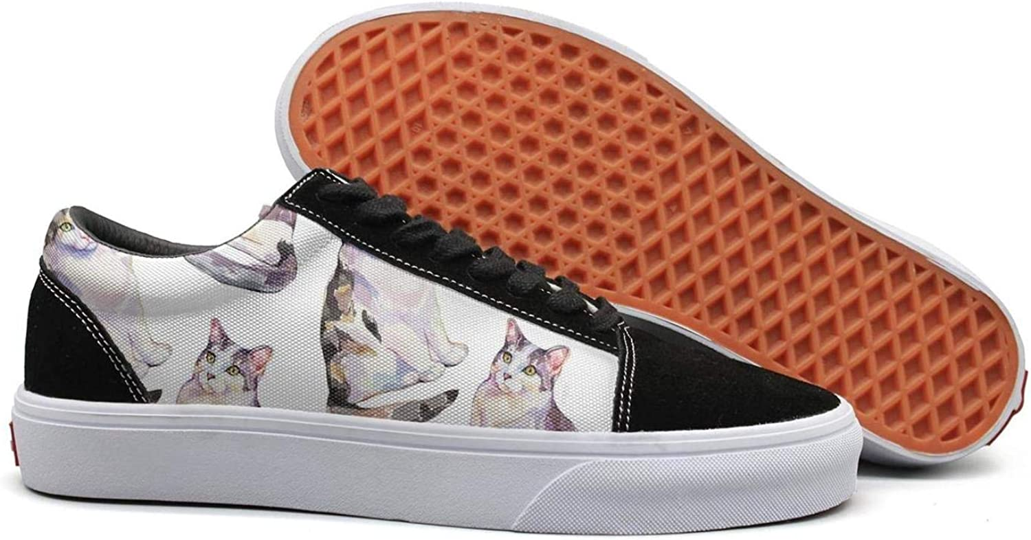Uieort Watercolor Cat Kitty Womens Lace Up Sneakers shoes Fashion