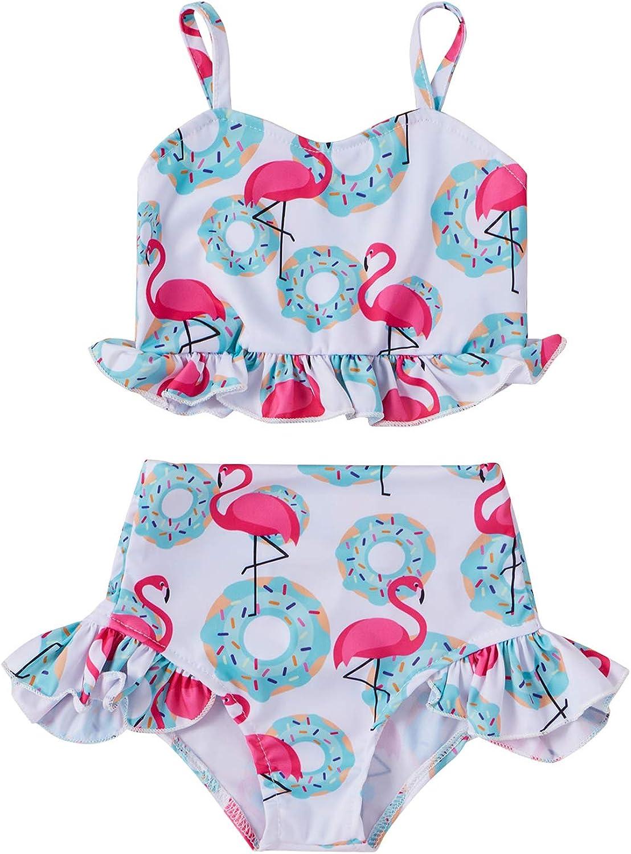 Toddler Girl Swimsuit 2 Piece Swimwear, Donut Flamingo Swimsuit,