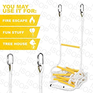 ISOP Indoor/Outdoor Rope Ladder 15 ft – Sturdy Exercise Rope Ladder – Climbing Hanging Rope for Kids & Adults – Rope Ladder for Swing Set (15ft)