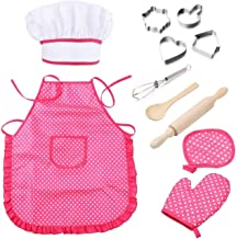 BESTONZON 11pcs Kids Chef Set Children Kitchen Cooking Play Costume with Chef's Hat Apron Cooking Mitt and Utensils for Kids Cooking Play