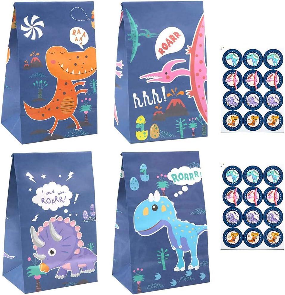 Dinosaur World Bolsa de papel Kraft Bolsa de dulces 24 Bolsas pequeñas de regalo de dinosaurio Imágenes de dibujos animados Rosa Azul Púrpura 0range Bolsa de regalo de cumpleaños para