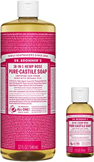 Dr. Bronner's - Pure-Castile Liquid Soap (32 ounce and 2 ounce Bundle) - Made with Organic Oils, 18-in-1 Uses: Face, Body, Hair, Laundry, Pets and Dishes, Concentrated, Vegan, Non-GMO (Rose)