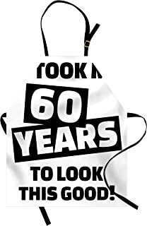 Ambesonne 60th Birthday Apron, It Took Me 60 Years Party Words Slogan Admiration Theme Monochrome Image, Unisex Kitchen Bib with Adjustable Neck for Cooking Gardening, Adult Size, White and Black