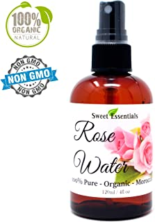 Premium Organic Moroccan Rose Water - 4oz W/Sprayer - Imported From Morocco - 100% Pure (Food Grade) No Oils or Alcohol - Rich in Vitamin A & C Perfect for Hydrating & Rejuvenating Your Face & Neck