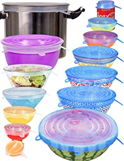[14pcs] longzon Silicone Stretch Lids (Include 2 Exclusive XXL Size up to 12''), Reusable Durable Food Storage Covers for ...
